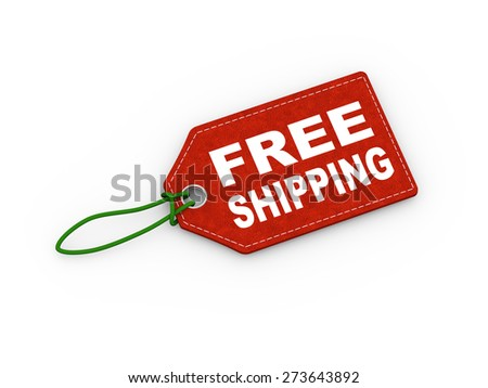 3d illustration of free shipping word text label price tag - stock photo