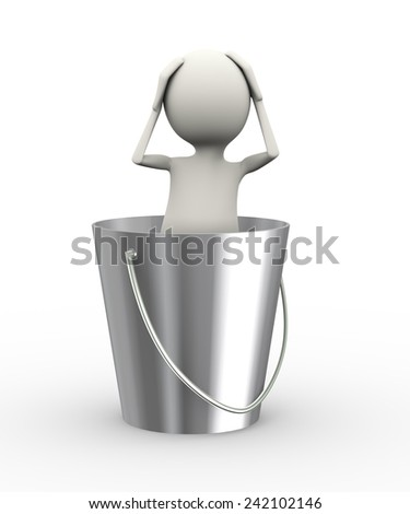 3d illustration of frustrated man with hands on his head inside can. 3d human person character and white people  - stock photo