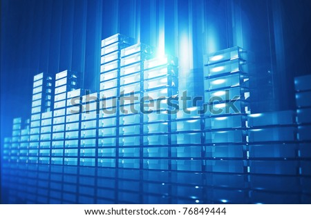 3D illustration of funky blue background with abstract Equalizer bar - stock photo