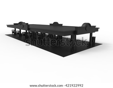 3d illustration of gas station. simple to use. on white background isolated with shadow. icon for game or web. eco building. expensive purchase. black colors. - stock photo