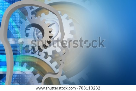 3d illustration of gear over blue background with gears