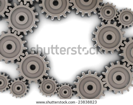 3d illustration of gear wheels around white space, frame - stock photo