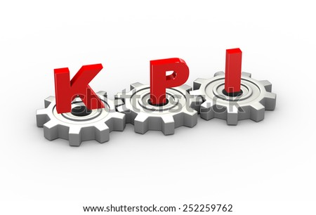 3d illustration of gears and kpi key performance indicator concept - stock photo