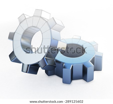 3d illustration of gears isolated on white
