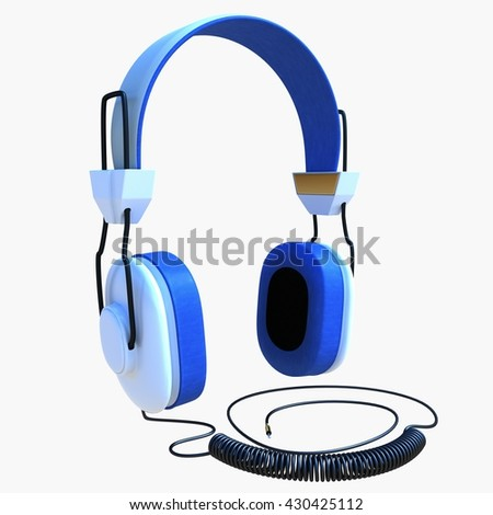 3d illustration of generic headphones. icon for game web. texture color. white background isolated. simple to use. listening to music. wire and plug