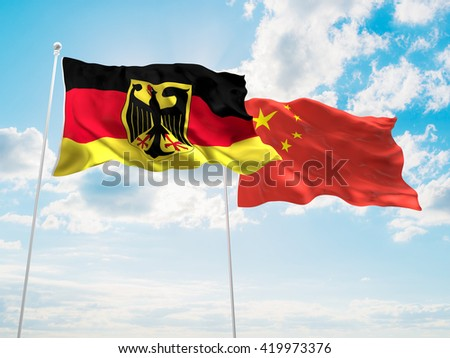 3D illustration of Germany & China Flags are waving in the sky - stock photo