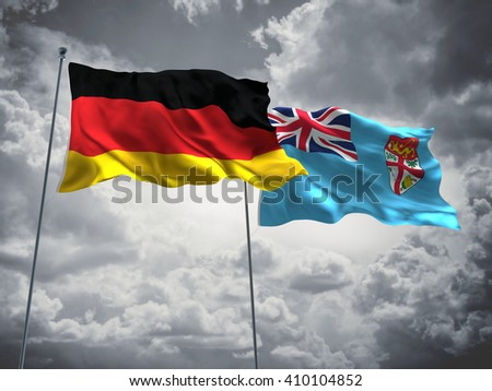 3D illustration of Germany & Fiji Flags are waving in the sky with dark clouds