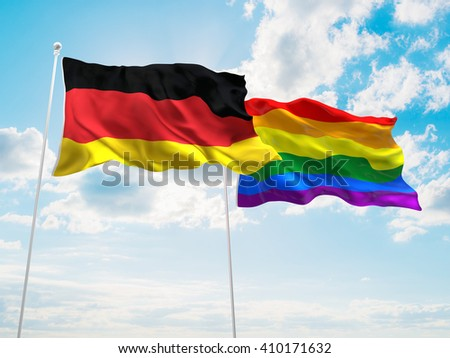 3D illustration of Germany & LGBT Community Pride Flags are waving in the sky