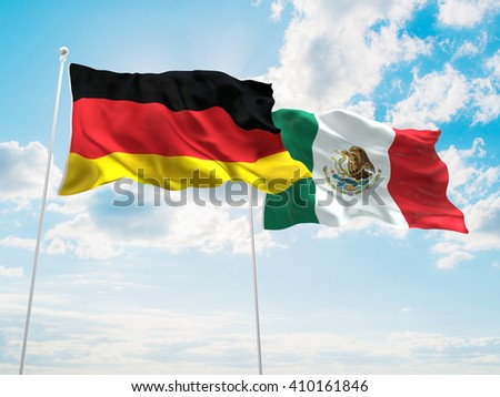3D illustration of Germany & Mexico Flags are waving in the sky - stock photo