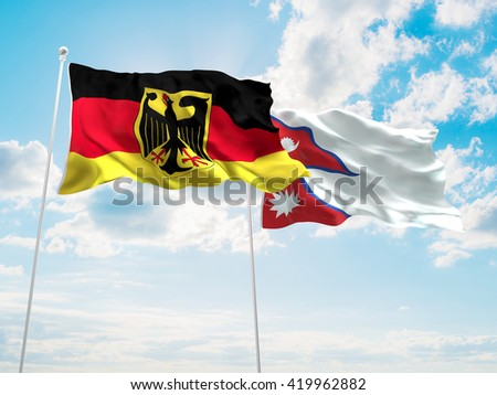 3D illustration of Germany & Nepal Flags are waving in the sky - stock photo