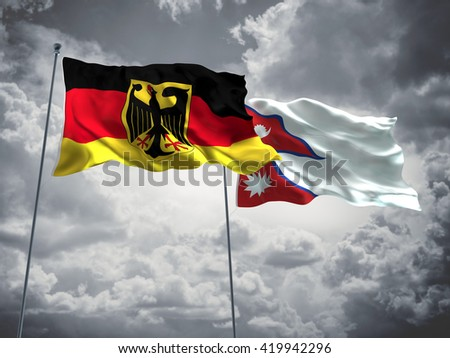 3D illustration of Germany & Nepal Flags are waving in the sky with dark clouds  - stock photo