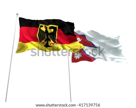 3D illustration of Germany & Nepal Flags are waving on the isolated white background - stock photo