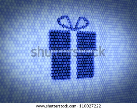 3d illustration of gift concept on computer screen
