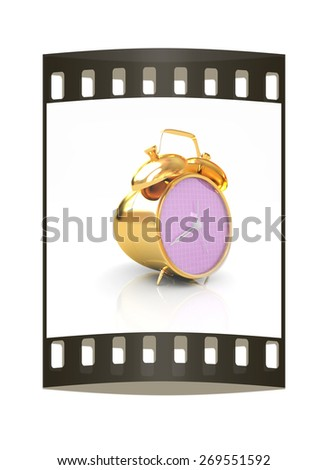 3d illustration of glossy alarm clock against white background. The film strip