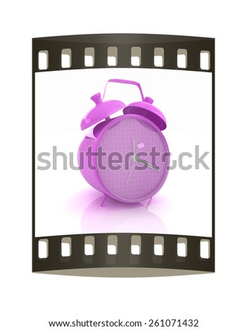 3d illustration of glossy purple alarm clock against white background. The film strip - stock photo