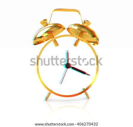 3D illustration of gold alarm clock icon on a white background. 3D illustration. Anaglyph. View with red/cyan glasses to see in 3D. - stock photo