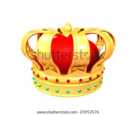 3d Illustration of gold crown on white background