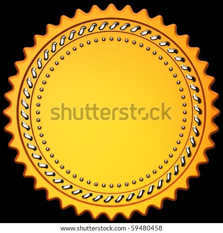3D illustration of gold medal template with copy-space for your text. Isolated on black - stock photo