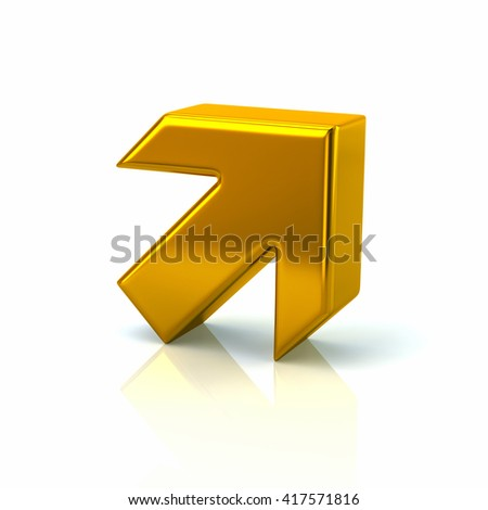 3d illustration of golden arrow isolated on white background - stock photo