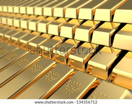 3d illustration of golden bars background - stock photo