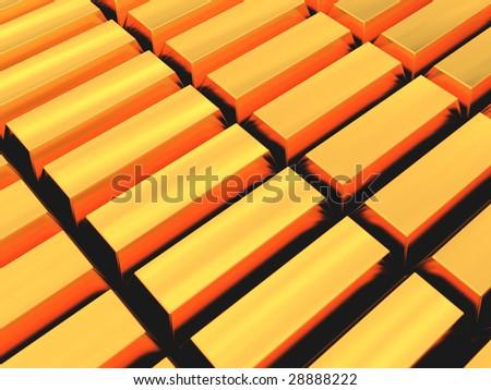 3d illustration of golden bricks rows background - stock photo