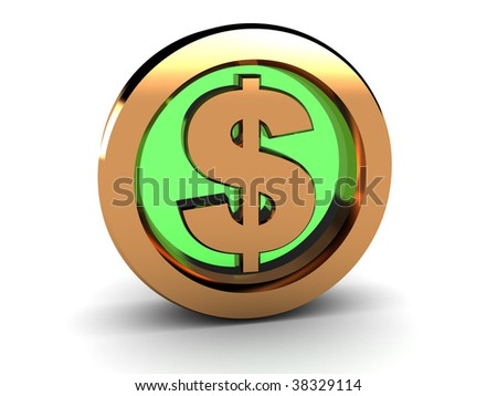3d illustration of golden circle with dollar sign