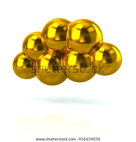 3d illustration of golden cloud isolated on white background