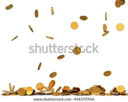 3d illustration of golden coins rain. coins with different currency signs.  - stock photo
