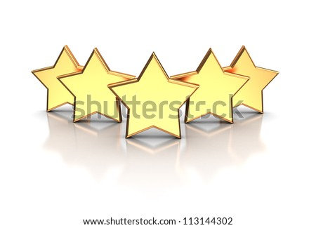 3d illustration of golden five stars isolated on a white background - stock photo