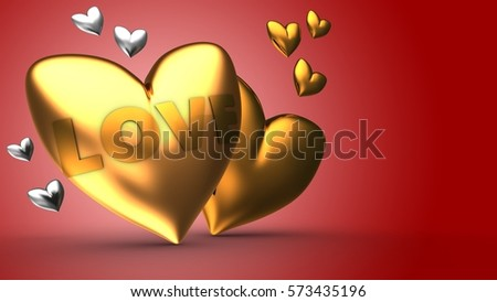 3d illustration of golden heart over red background with gold and silver hearts and love sign
