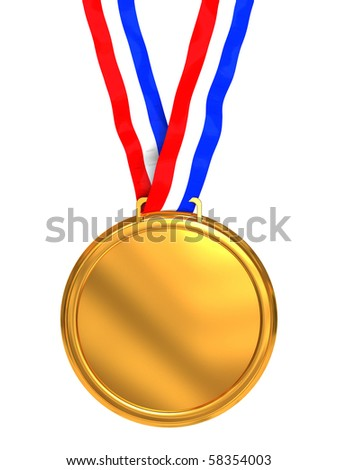 3d illustration of golden medal isolated over white background