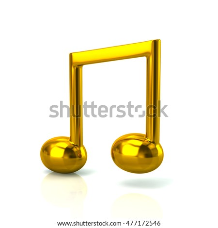 3d illustration of golden music note isolated on white background