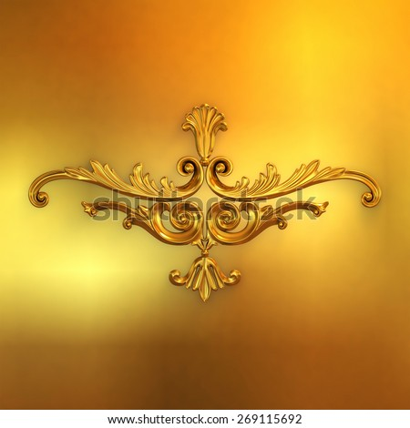 3d illustration of golden ornaments on a gold background