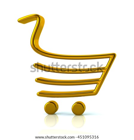3d illustration of golden shopping cart isolated on white background