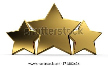 3d illustration of golden three stars - stock photo