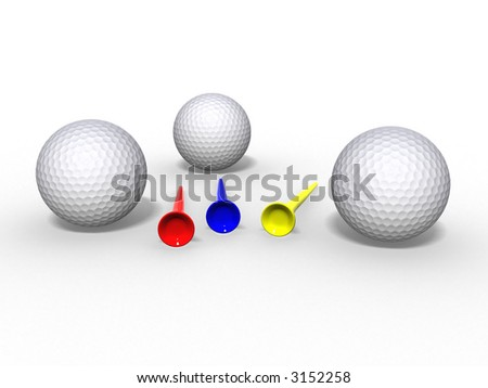 3d illustration of golf balls and tees