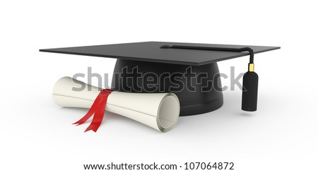 3d illustration of graduation cap with diploma. Isolated on white background - stock photo
