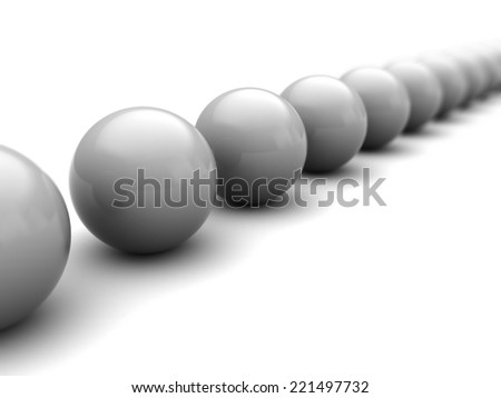 3d illustration of gray spheres over white background
