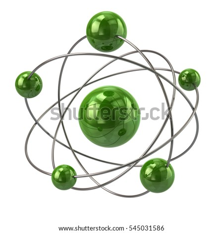 3d illustration of green atom molecule icon isolated on white background