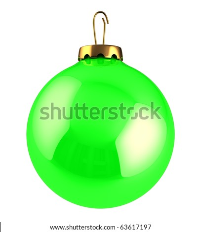 3d illustration of green Christmas ball isolated over white background