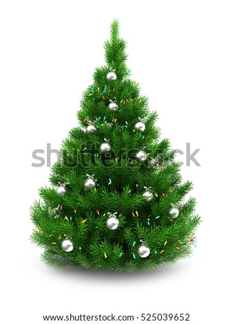 3d illustration of green Christmas tree over white background with lights and chrome balls