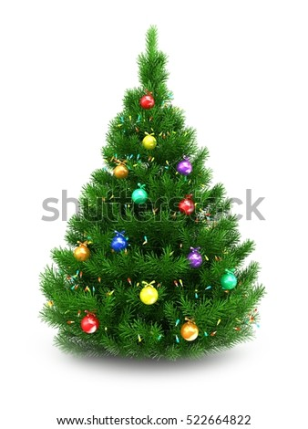 3d illustration of green Christmas tree over white background with lights and glass balls