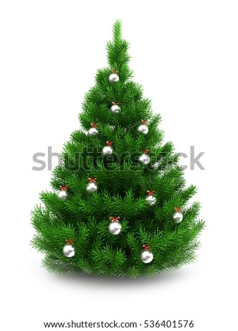 3d illustration of green Christmas tree over white background with metallic balls