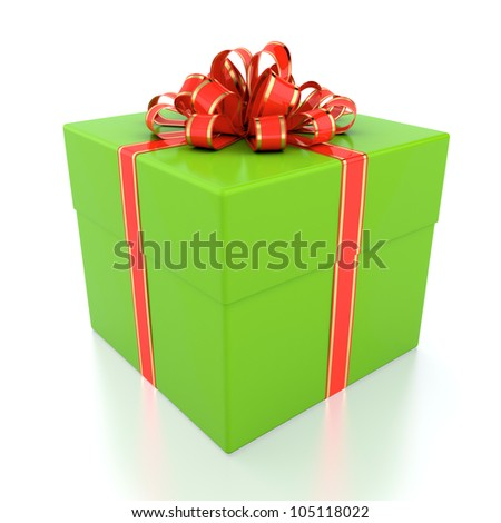 3D illustration of green gift box with red ribbon