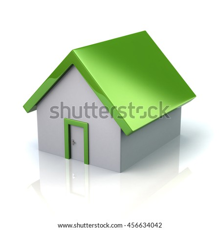 3d illustration of green home isolated on white background