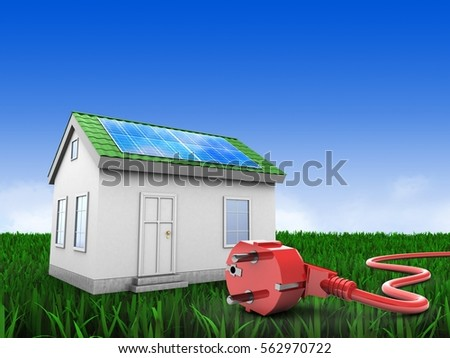 3d illustration of green house over meadow background with power cord