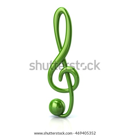 3d illustration of green music treble clef isolated on white background