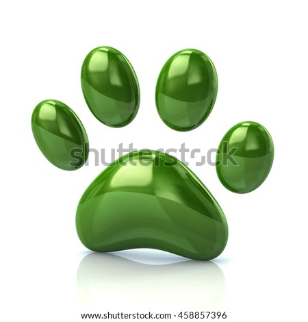 3d illustration of green paw print icon isolated on white background