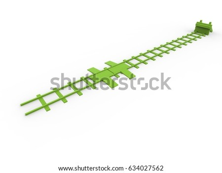 3d illustration of green railway bumper. white background isolated. icon for game web.