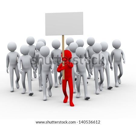 3d illustration of group leader with banner. People crowd protesting and strike walk.  3d rendering of human people character. - stock photo
